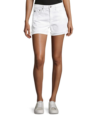 Hailey Mid-Rise Denim Jeans Shorts  White