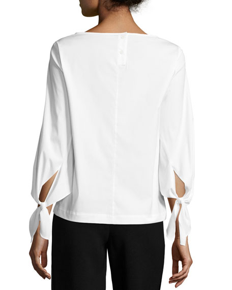 Elaine Tie-Sleeve Stretch-Cotton Blouse, White, Plus Size