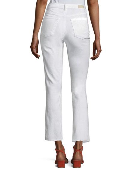 AG Isabelle High-Rise Straight-Leg Jeans, White