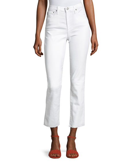 AG Isabelle High-Rise Straight-Leg Jeans, White