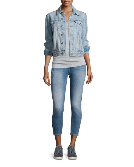 Chrissy Overboard High-Rise Denim Jeans, Indigo