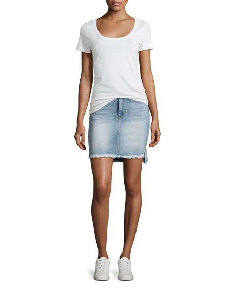 High-Low Hem Denim Jean Skirt, Indigo