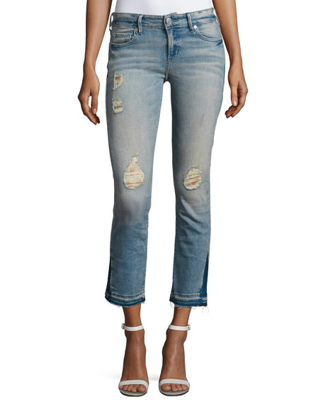 True Religion Cora Straight Crop Denim Jeans, Blue