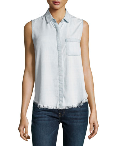 N7th & Kent Raw-Hem Sleeveless Shirt, Gray