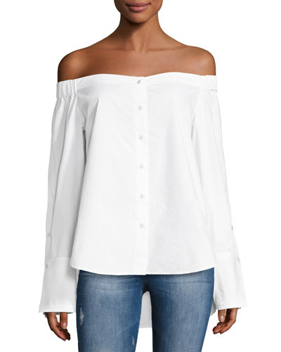 East Hampton Off-the-Shoulder Top, White