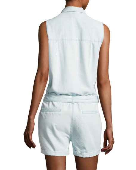 Bridgehampton Chambray Romper Jumpsuit, Indigo