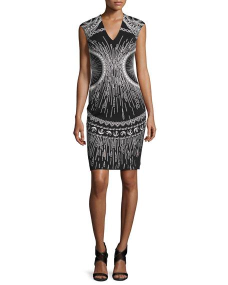 ph15 Sleeveless Embroidered Sheath Dress, Black