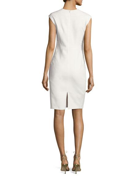 Sleeveless Embroidered Sheath Dress, Ivory