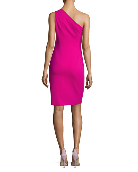 One-Shoulder Ponte Cocktail Dress, Fuchsia