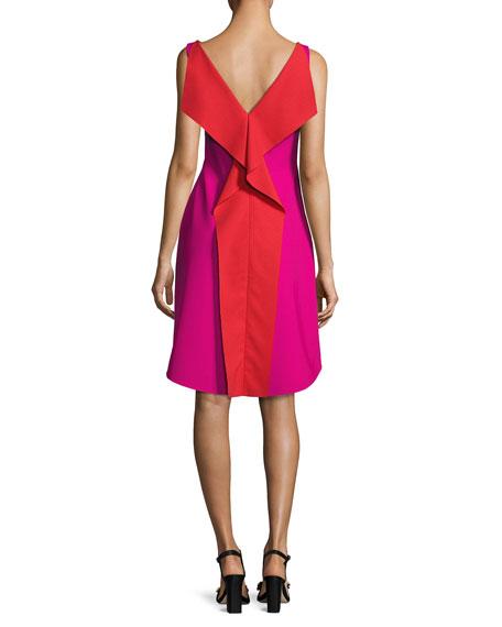 Sleeveless Colorblock Ponte Cocktail Dress, Fuchsia/Orange
