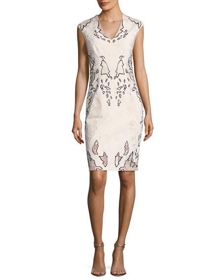 Sleeveless Embroidered Sheath Dress, Blush