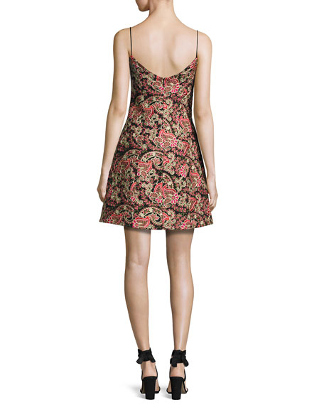 Laura Sleeveless Structured Paisley Cocktail Dress, Multicolor