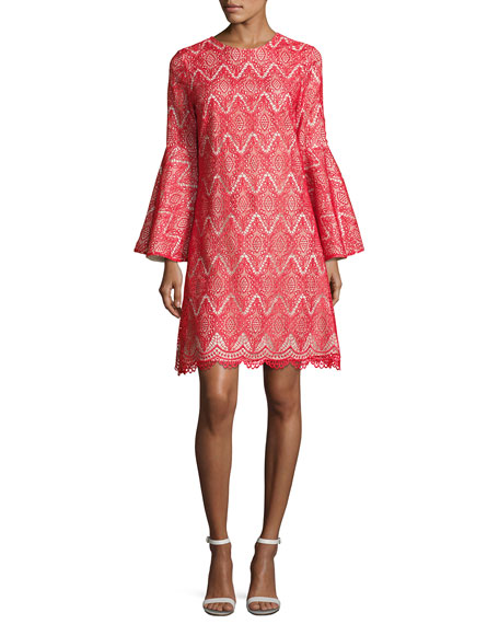 Mestiza New York Libby Bell-Sleeve Geometric Lace Cocktail
