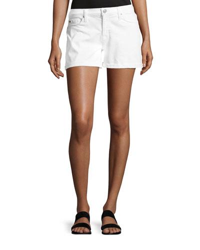 Asha Mid-Rise Cuffed Denim Shorts, White