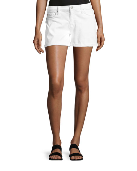 Hudson Asha Mid-Rise Cuffed Denim Shorts, White