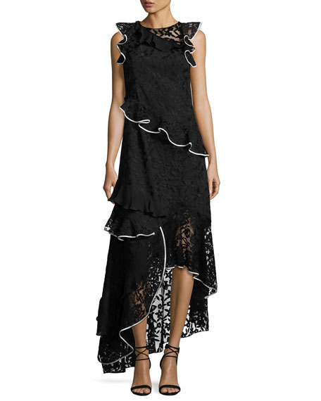 Sachin & Babi Harmany Sleeveless Asymmetric Floral Lace