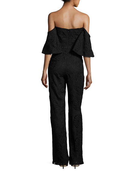 Rosanna Off-the-Shoulder Floral Lace Jumpsuit, Black