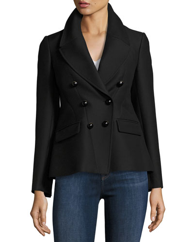 Ashfield Fitted Wool Jacket, Black