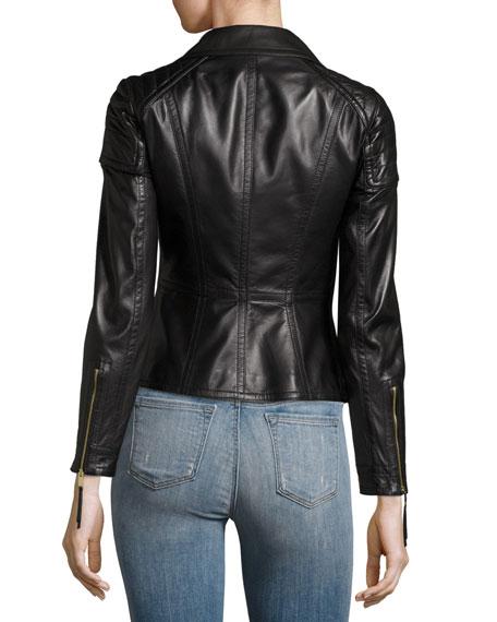 Lydbry Leather Biker Jacket, Black