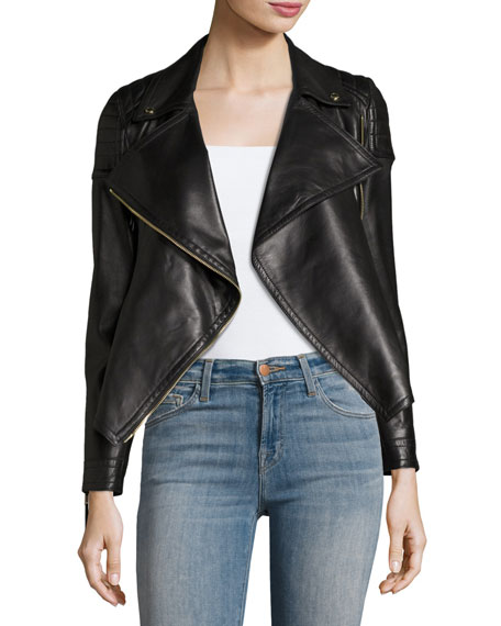 Lydbry Leather Biker Jacket, Black