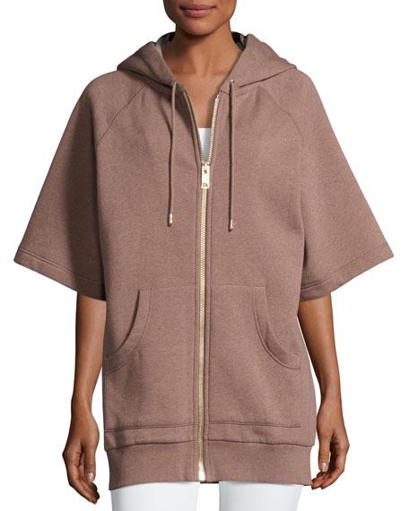 Burberry Short-Sleeve Zip-Front Hoodie
