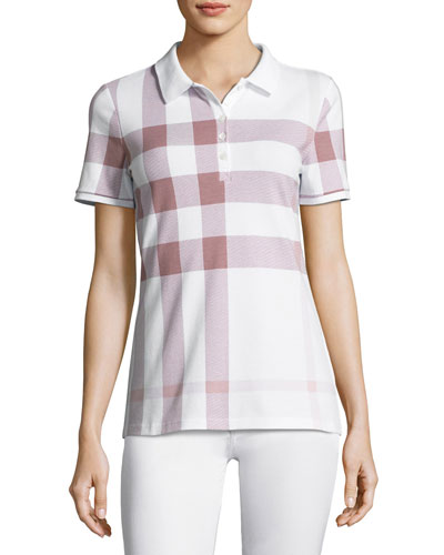 Exploded-Check Polo Shirt, Pink
