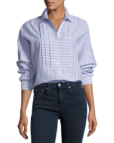 Burberry Posy Striped Boyfriend Shirt