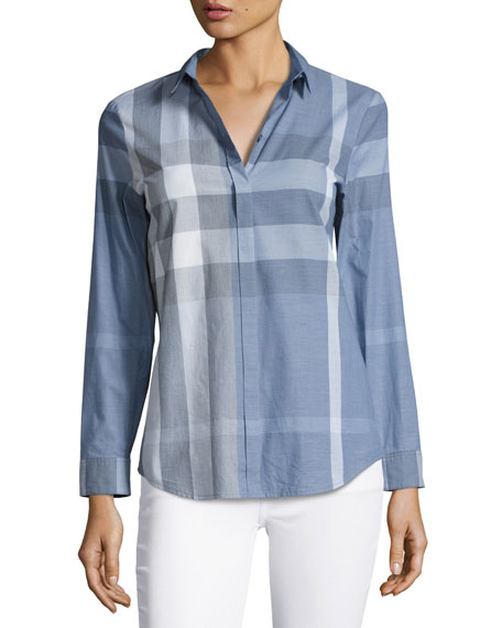 Check Long-Sleeve Cotton Shirt, Blue
