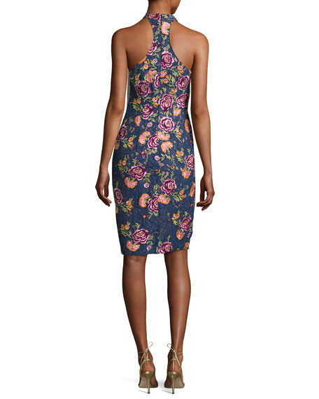 Sleeveless Embroidered Floral Lace Cocktail Dress, Navy