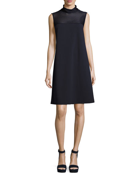 Lafayette 148 New York Mock-Neck Dress w/ Mesh-Stripe