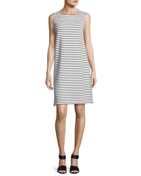 Lafayette 148 New York Sleeveless Square-Neck Striped Dress,