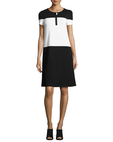 Short-Sleeve Colorblock Shift Dress, Black/White