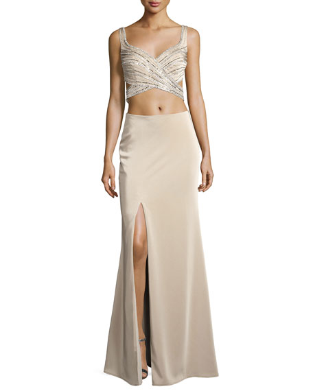 La Femme Sleeveless Beaded Cutout Gown, Nude