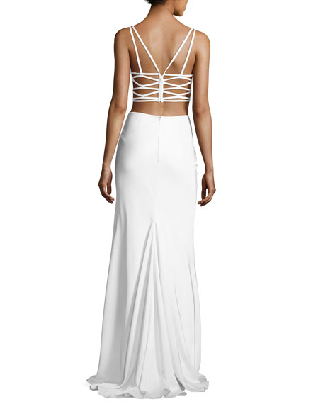 Sleeveless Crepe Lattice Two-Piece Gown, White