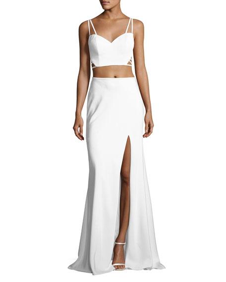 La Femme Sleeveless Crepe Lattice Two-Piece Gown, White