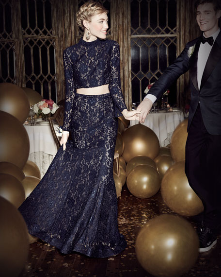 Long-Sleeve Beaded Lace Two-Piece Gown, Navy