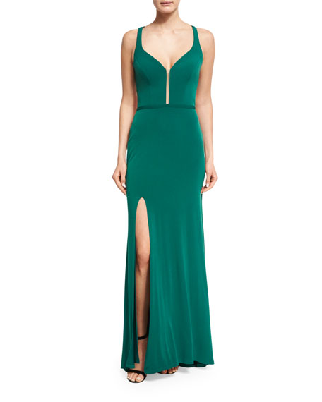 La Femme Sleeveless Lattice Cross-Back Column Gown, Forest