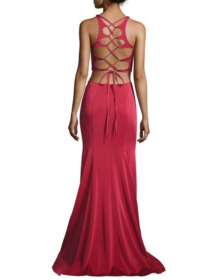 Sleeveless Satin Lattice Two-Piece Gown, Dark Red