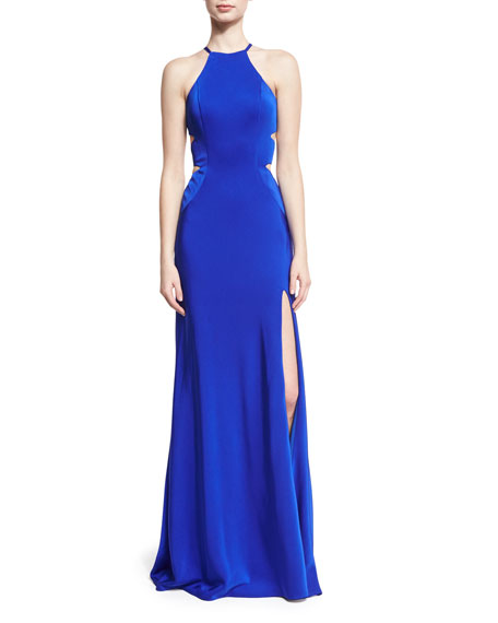 La Femme Sleeveless Cross-Back Cutout Column Gown, Blue