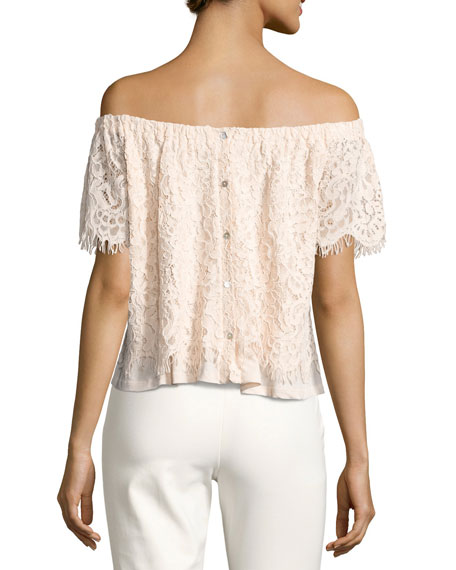 Carly Off-the-Shoulder Lace Top, Nude