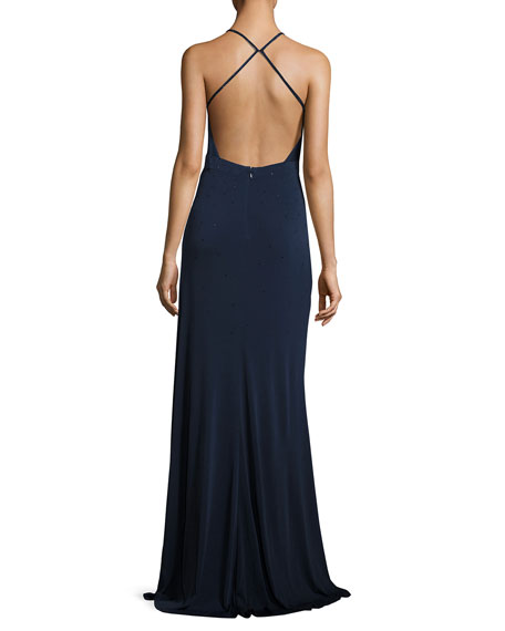 Sleeveless Beaded Cross-Back Gown, Navy