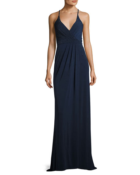 La Femme Sleeveless Beaded Cross-Back Gown, Navy