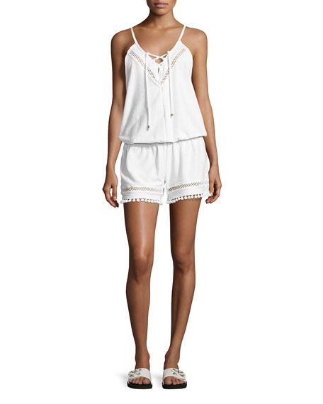 Ella Moss Swim Juliet Solids Sleeveless Romper Coverup,