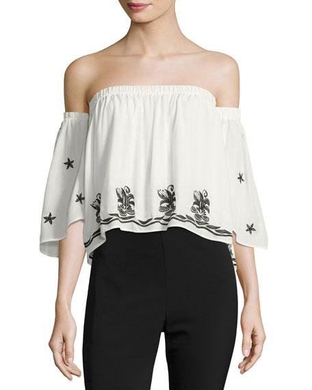 Karina Grimaldi Bolero Embellished Off-the-Shoulder Top, White