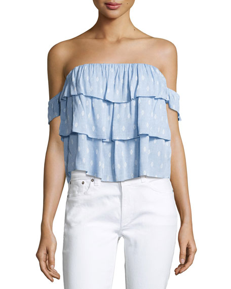 MISA Los Angeles Kaia Off-the-Shoulder Tiered Ruffled Top,
