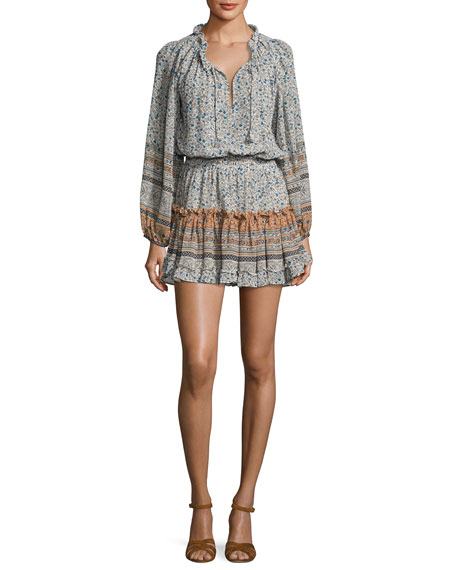 MISA Los Angeles Lorena Long-Sleeve Mini Dress, Multipattern