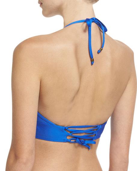 Juliet V-Neck Crop Swim Top, Blue