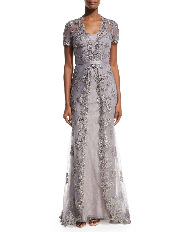 La Femme Short-Sleeve Embellished Tulle Overlay Gown, Silver ...