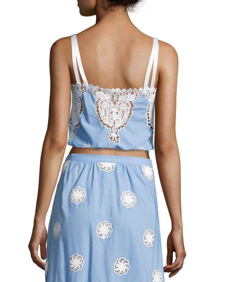 Hannah Versailles Sleeveless Lace Crop Top, Blue