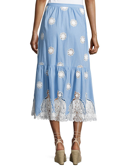 Adrienne Versailles Midi Skirt with Lace, Blue